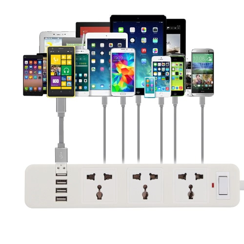 KKmoon JW Multi-purpose Smart Adaptation Power Strip Outlet 110-250V 10A 2500W Quick Charging 4 USB Extension Socket Plug with 3 Standard Socket
