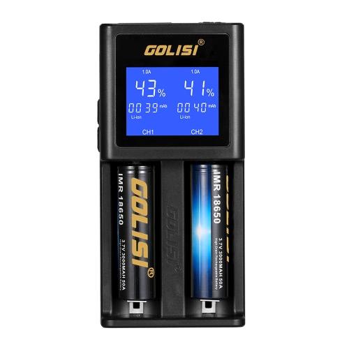 COLISIスマートバッテリー充電器高速充電安全LCD表示画面付き防火USBポートIMR / Li-ion / Ni-mh / Mi-cd / AAA / AA充電式電池用インテリジェント回路ダブルスロット