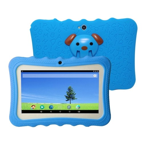 7'' Kids Tablet-PC 1G+16G Quad-Core Wi-Fi Tablet-PC Pad with Shock-Proof Silicone Protective Case for Children Educational Gift