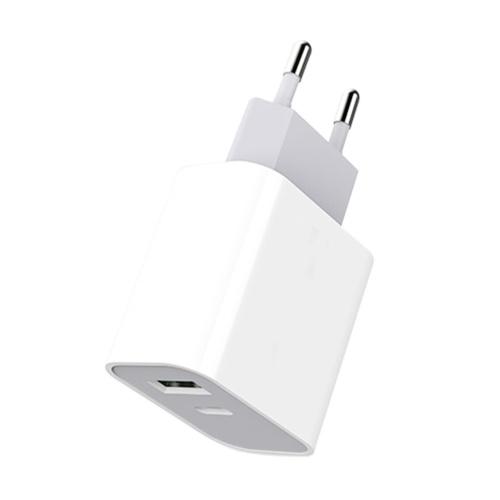 M-3 Adaptador de energia de carregamento rápido de saída dupla de 20 W Mini carregador de parede portátil com porta USB-C + USB-A para telefone / laptop / tablet