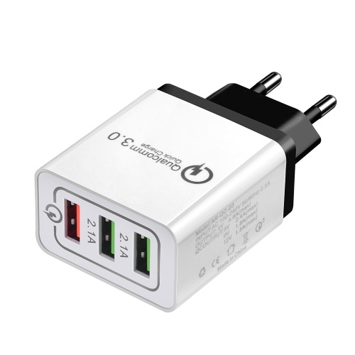 Fast Phone Charger QC3.0 3 Ports USB EU US Plug Power Adapter