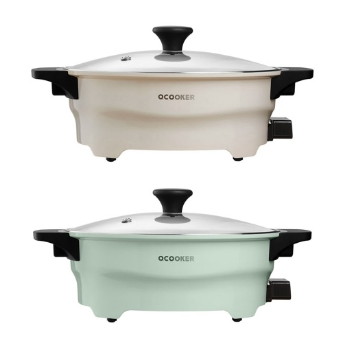 OCOOKER Hot Pot Twin Divided Two-Flavors Cookware Little Sheep Pot Hot Pot Soup Stock Pot Winter Party Cooking Tools 1500W 220V