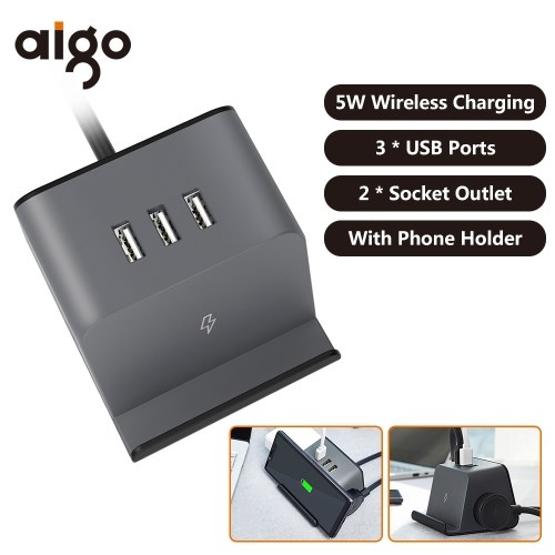 Xiaomi Aigo 5W Wireless Charger Socket With Phone Bracket Holder 3 USB Ports Extended Line Sockets 3D Mini Power Strip Socket Outlet