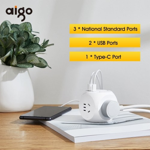 Xiaomi Aigo Magic Cube Socket Power Adapter Fast Charge Simple With 3 National Standard Ports 2 USB Ports 1 Type-C