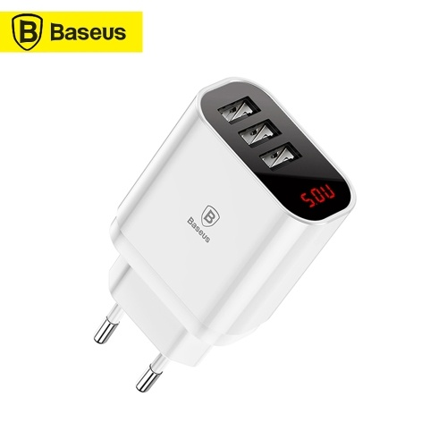 Xiaomi Baseus 3 USB Travel Charger Mirror Lake Intelligent Digital Display 3.4A AC100-240V EU Plug Home Portable Fast Charger For Samsung Huawei iPhone