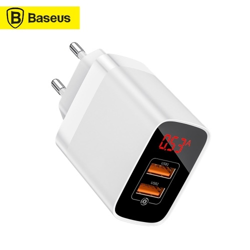 Xiaomi Baseus 2 USB Travel Charger Mirror Lake Dual QC Smart Digital Display 18 W Fast Charging Charger Adapter For FCP AFC QC3.0  Portable Travel Home Office Universal For Smartphones EU Plug