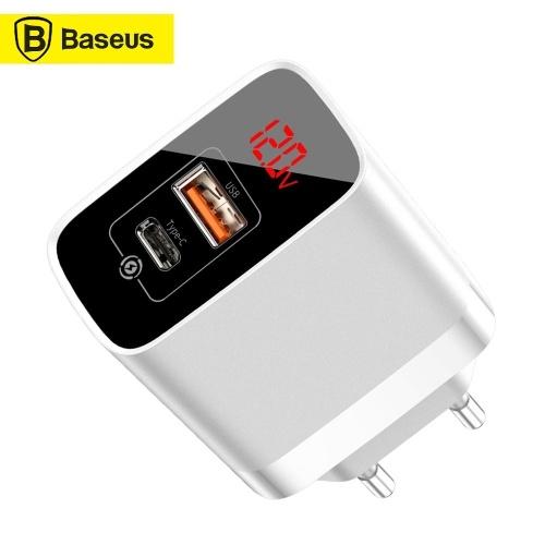 Xiaomi Baseus Mirror Lake PPS Интеллектуальный дисплей Быстрое зарядное устройство 3.0 для FCP AFC QC3.0 Быстрая зарядка USB Type C 18 Вт ЕС Plug Home Портативное быстрое зарядное устройство для HUAWEI Samsung Xiaomi