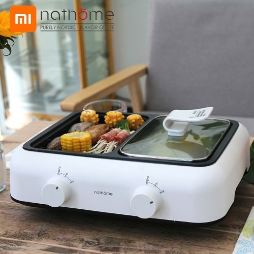 Xiaomi Youpin Nathome Multifunctional Electric BBQ Grill Non Stick Plate Barbecue Pan Hot Pot Dinner Picnic Skillet Maker For 1-2 People 1400W 220V