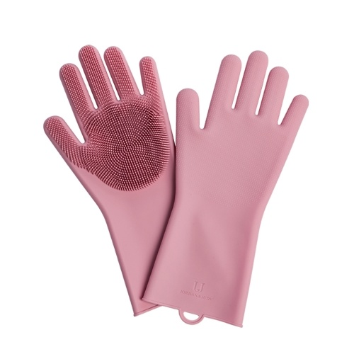 Jordan Judy Silicone Cleaning Gloves 1Pair Durable Silicone Dish Washing Glove for Household Scrubber Rubber Kitchen Clean Tool