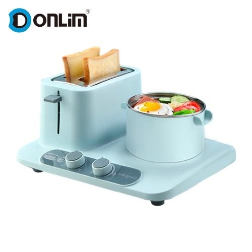 Donlim Toaster 3-in-1 elektrische Frühstücksstation Frühstücksmaschine mit Toaster / Dampfgarer / Pfanne DL-3405 220V