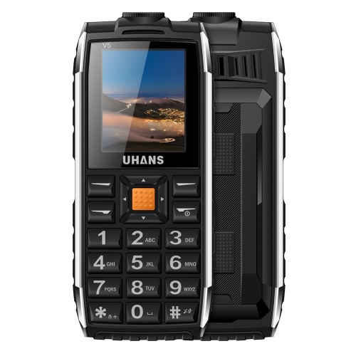 UHANS V5 Feature Phone 2G GSM 6531DA 1,7 дюйма 128 * 160Pixels экрана 32M + 32M 0.3MP Задняя камера Видео Аудио FM-радио TF карта фонарик Большие клавиши слова громкого звука 2500mAh батареи