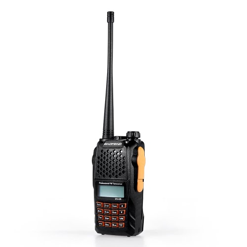 Origine Baofeng UV-6R VHF / UHF Dual Band de poche Transceiver Interphone avec écran LCD Récepteur radio FM 5W 128 canaux mémoire 1750Hz Tonalité d'appel CB alarme Radio DTMF Encode urgence VOX Fonction Économie batterie LED Flashlight Walkie Talkie Wireless Portable Radio