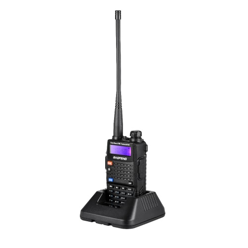 BAOFENG UV-5RC Mobile 2-way Radio talkie-walkie VHF / UHF Double Bande Transmetteur Portatif Interphone avec LCD FM Récepteur Radio 128 Canaux Mémoire DTMF Encode VOX avec Stand