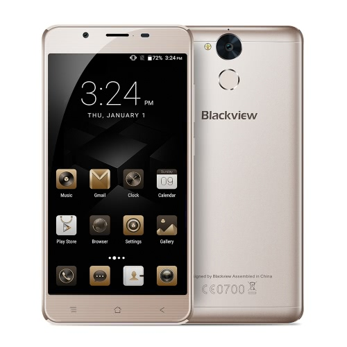 Blackview P2 Lite смартфон 4G LTE телефон 5.5inch FHD IPS экран 1080 * 1920pixel 64Bit MTK6753 окта-ядерный 1.3GHz 3GB RAM 32GB ROM Android 6.0 OS 13.0MP + 8.0MP камеры 6000mAh батареи Dual Sim Fingerprint OTG GPS WiFi Type-C Мобильный телефон