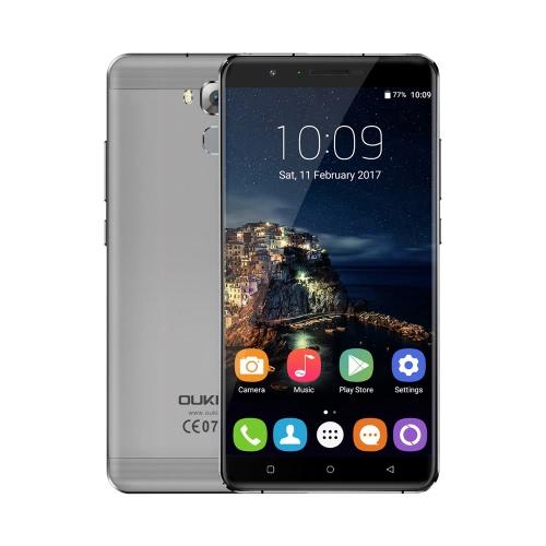 OUKITEL U16 Max 4G FDD-LTE 3G WCDMA MTK6753 64-Bit-Octa-Core 1.3GHz 6.0 Zoll 2.5D HD 1280 * 720Pixels Schirm Android 7.0 3GB RAM + 32 GB ROM 5MP + 13MP Doppelkameras Presse Fingerabdruck ID Entsperren Benachrichtigungs-LED WiFi 4000mAh