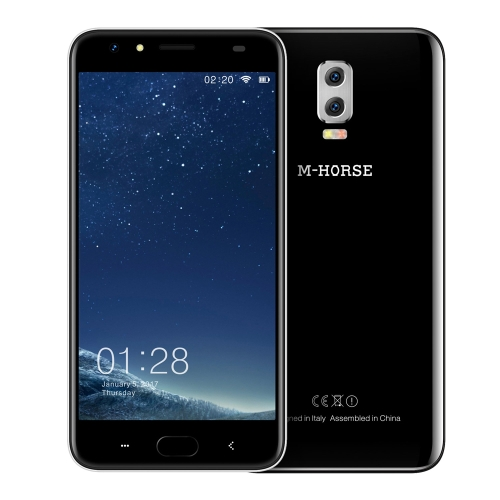 M-HORSE Power 2 6000mAh 5.5-Inch Fingerprint 3-Cam Smartphone 4G FDD-LTE 2GB RAM+16GB ROM MTK6737 1.3GHz Quad Core HD 1280 * 720 Pixels Screen Android 7.0 2MP+8MP Dual Back Cameras HotKnot