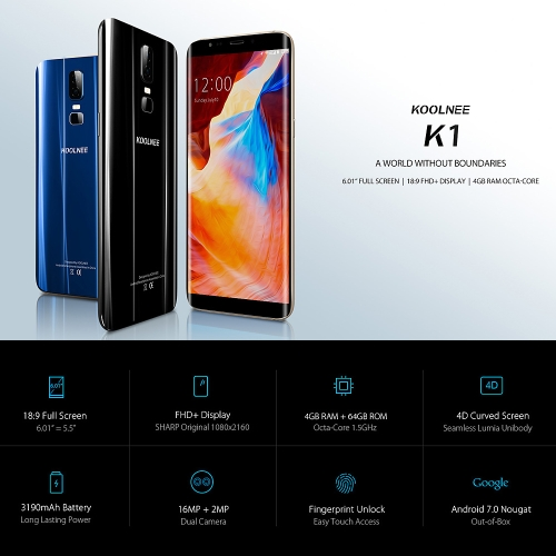 KOOLNEE K1 4G Smartphone 6.01-Inch 18:9 Screen 4GB RAM 64GB ROM