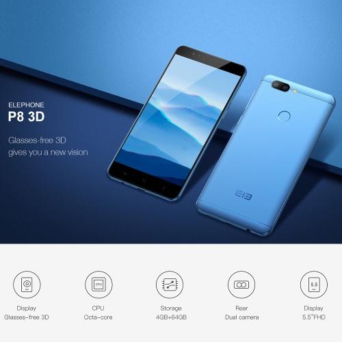 Elephone P8 3D 4G Mobile Phone 5.5-Inch FHD 4GB RAM 64 GB ROM