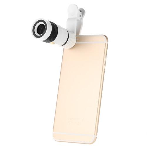 Universal Design 8 X Zoom Telefon Tele Kamera Spezialobjektiv mit Clip für iPhone Samsung HTC