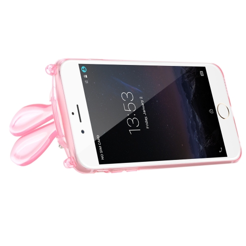 Luxury Ultra-thin Cute Plush Bunny Rabbit Soft TPU Super Flexible Clear Back Case Cover for Apple iPhone 6 Plus 6S Plus 5.5