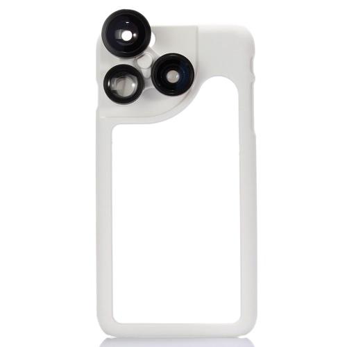 KKmoon 4-em-1 telefone foto lente 180° Fisheye 120° ângulo de largura 2 X Telephoto 2 X Macro definido com o caso para o iPhone 6 Plus 6S Plus