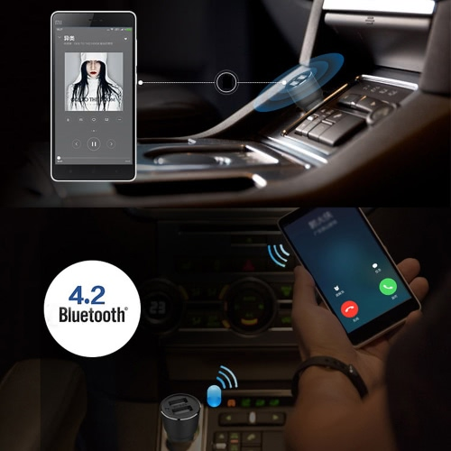 Original KKmoon Roidmi 2S Music Bluetooth Car Charger 5V 2 4A Output Dual  USB Ports BT4 2 Voice Recognition Hands-free Calls Music Playing Navigation