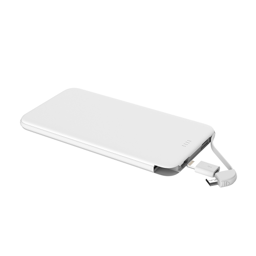Portátil Carregador LED Display Banco de energia Ultrathin 5000mAh Quick Charge Safe Bateria Externa Bateria de Backup Built-in Micro USB Cable com Lightning Connector