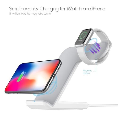 Беспроводное зарядное устройство для док-станции 2 в 1 Портативное зарядное устройство для смартфонов с поддержкой Qi Быстрая зарядка для iPhone X / 8/8 Plus / iWatch 1/2/3 фото