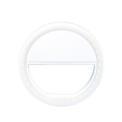 Selfie LED Lichtring Flash Fill Clip Kamera für I-Phone & Tablet Weiß