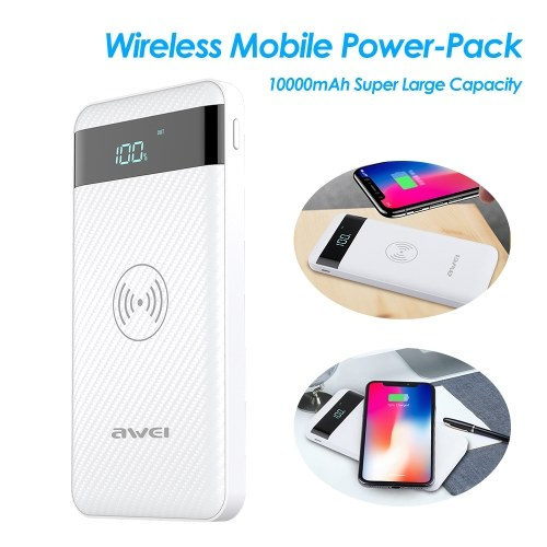 AWEI Wireless Power-Bank 10000mAh Mobile Power-Pack Portable Fast Charging Backup External Battery-Pack for Mobile Phone
