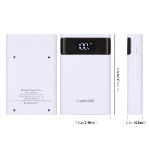 HAWEEL DIY Power-bank Batterys Charg-er Shell Box with 2 USB Output Interfaces & LCD Display