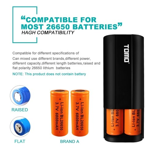 TOMO D2 26650 Li-ion Battery Charger 2 Input Case 5V 2A Output Power Bank External USB Charger with Intelligent LCD Display for Cellphones