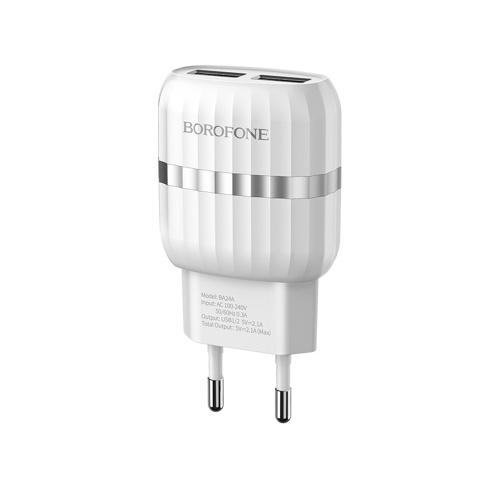 BOROFONE BA24A USB Carregador De Parede Dual Port USB Powerport Carregador De Parede Dupla Carregador De Viagem Adaptador De Alimentação Universal Compatível com Bancos De Energia Telemóveis