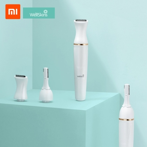 Xiaomi Youpin Wéllskins Electric Eyebrow Trimmer Repairer Shaver Body Hair Removal with Pivoting Head 30° Adjustable Cutter Head Hair Remover for Women Painless Lady Shaver 6-in-1 with 1 AAA Battery