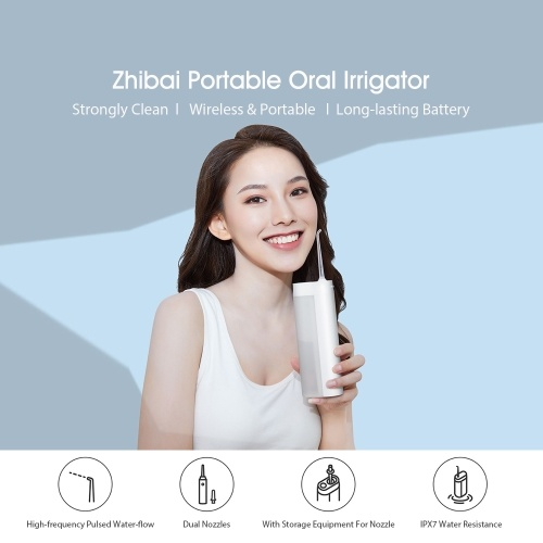 Xiaomi Youpin Zhibai XL1 Portable Oral Irrigator USB Rechargeable Dental Electric Water Flosser Waterproof IPX7 Tooth Teeth Mouth Cleaner XL1