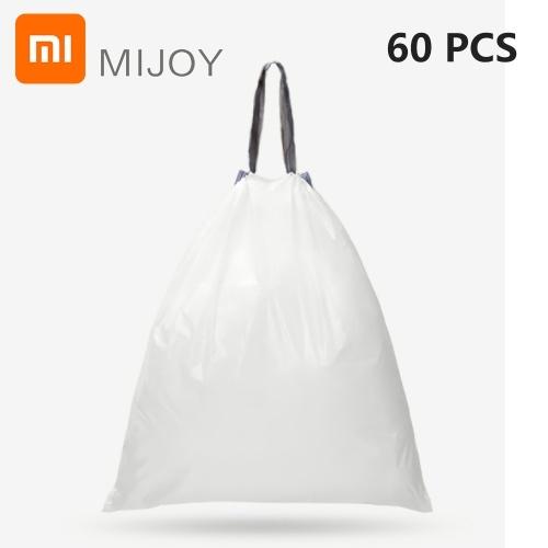 60 Unids Xiaomi MIJOY Bolsa de basura con cordón Fuerte Espesar Bolsa de plástico Cordón Bolsa de basura Cocina Dormitorio Bolsa de basura 45x50mm