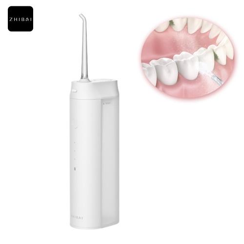 Zhibai Inalámbrico Agua Flosser Herramienta de limpieza de dientes Boquillas dobles Diseño Recargable Portátil IPX7 Regalos a prueba de agua para viajes Trabajo en casa