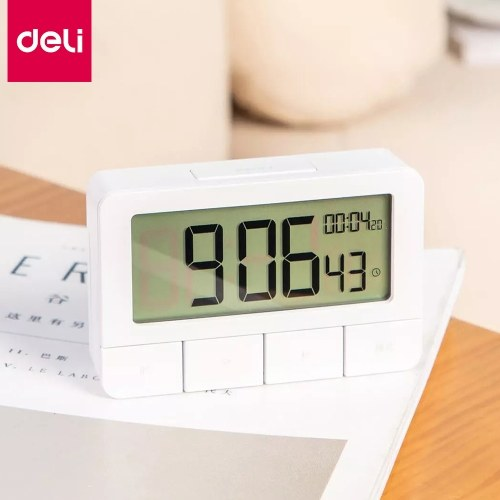 Deli Multifunctional Timer Digital Kitchen Timer with Big Digits Magnetic Backing 12/24 Hour Clock Alarm Count Up & Count Down Timer for Cooking Baking Studying Sports Games Office School