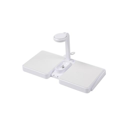 JJT-864ワイヤレス充電器4in1高速充電ドック電話と互換性があります時計イヤホンタイプC /タイプAインターフェース付きワイヤレス急速充電ステーションホワイト