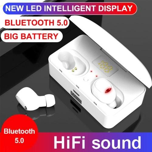 G10 TWS Fones de ouvido BT 5.0 Sem fio Mini Esportes Fones de ouvido 9D HiFi Sound Headset HD Chamada de redução de ruído Fones de ouvido LED Digital Power Display Button Control