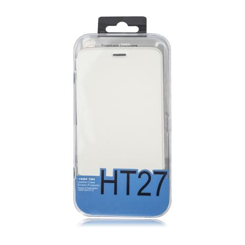 Caixa de telefone de couro Flip Cover Shell Protetor de tela de vidro Tempered Glass 2 em 1 Gift Pack para HOMTOM HT27