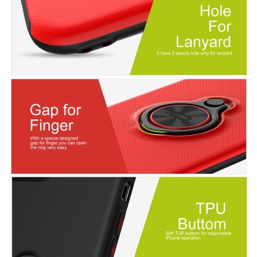ICONFLANG Ring Stand Phone Case For iPhone 7 8 Kickstand Finger Holder Cover Back Shell