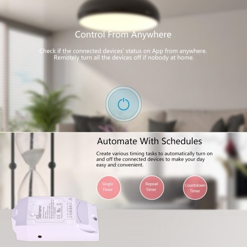 Sonoff Dual R2 WiFi Wireless Smart Switch 2 Gang Smart Home Wifi Remote Controller Works With Google Home Alexa