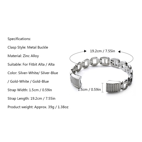 High Quality Watch Band Zinc Alloy Women Watch Band Fashion Simple Style Wrist Strap For Fitbit Alta Smart Watch