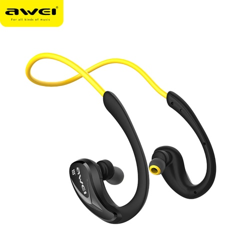 aWEI Wireless Bluetooth Noise Reduction Stereo Sports Headset Earphone Earbuds with Microphone Great Sound Quality for Smartphone iPhone Samsung iOS Android
