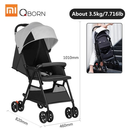 Xiaomi QBORN Lightweight Folding Stroller Baby Stroller Adjustable Angle Quick Wash 3 Stage Waterproof Canopy Universal Baby Folding Carriage