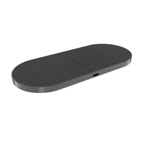 2 in 1 Dual Wireless Ladegerät 10W Schnellladekabine Drahtlose Ladematte für Mobiltelefone Ohrhörer Stoff Grau