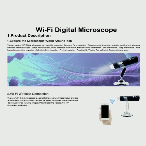YPC-X3 WiFi Microscope Digital Handheld 1000x Magnification 1920*1080P  Wireless 8 LED Mini Camera Portable Microscope for Windows iOS Android -