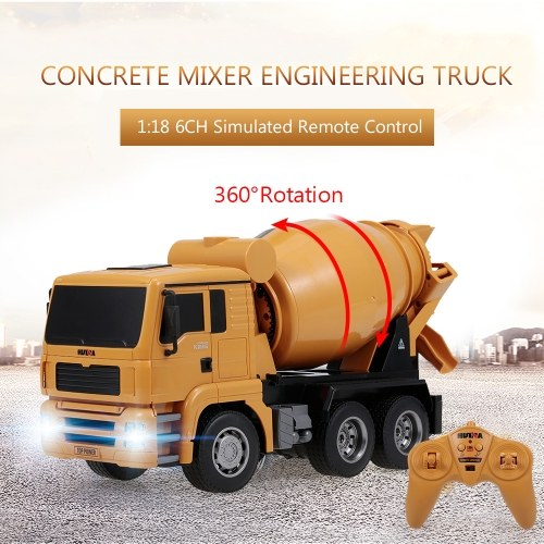 Giocattoli leggeri del veicolo della costruzione del camion di ingegneria della betoniera di HUINA 1333 1:18 2,4G per i bambini