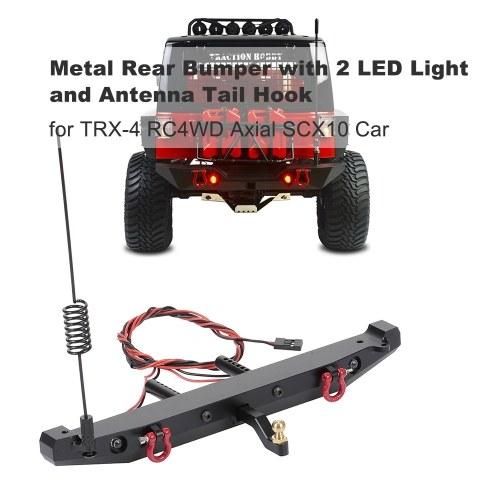 RC Автомобильный металлический задний бампер с 2 светодиодными световыми антенными хвостовыми крюками для TRX-4 RC4WD Осевой автомобиль SCX10